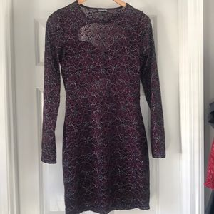 Express dress size M purple w silver lacy stretchy